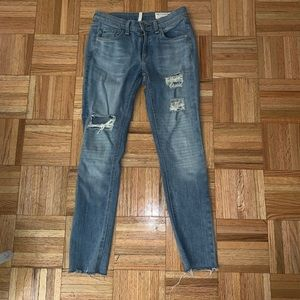 Rag and Bone/ Jean distressed moto ankle jeans, 25
